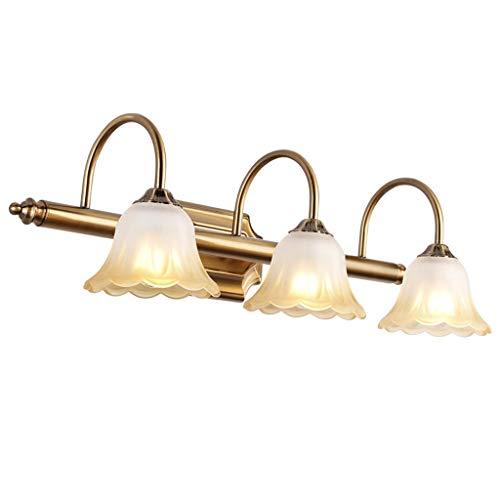 #Spiegelscheinwerfer Amerikanische 3 Kopf Spiegel Scheinwerfer Led Blumen Gold Badezimmer Lampe Hotel Badezimmerspiegel Kabinett Licht LED (Edition : Warm light)