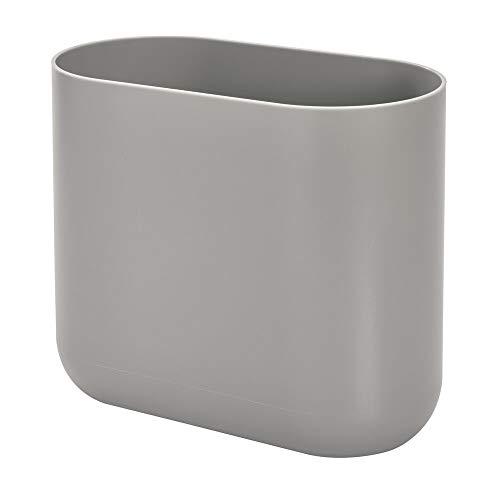 iDesign schlanker Badezimmer Mülleimer aus Kunststoff, Abfalleimer Bad zur Müllaufbewahrung, grau, 26,8 cm x 14 cm x 24,8 cm