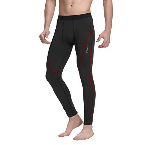 Reehut pantaloni a compressione lunghi da uomo - leggings sportivi traspiranti per allenamento, corsa, ciclismo, sci - rosso l