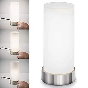 B.K.Licht Tischleuchte I Nachttisch-Leuchte für Schlafzimmer I Berührungssensor I Touchfunktion I Stufen-dimmbar I E14 Fassung I ohne Leuchtmittel