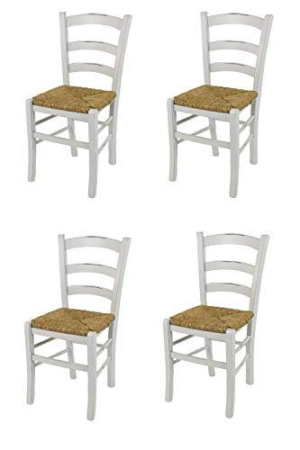 Tommychairs - Set 4 sedie Modello Venezia per Cucina e Sala da Pranzo Stile Shabby Chic, Robusta Struttura in Legno di faggio Anticata artigianalmente a Mano e Seduta in Paglia