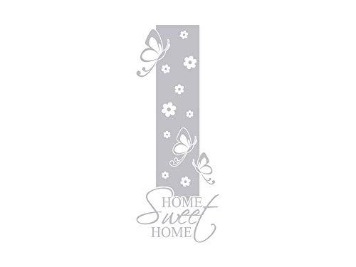 GRAZDesign 980222_50 Fenstertattoo Schriftzug Home Sweet Home mit Blumen | Fensteraufkleber für den Flur/Eingans-Tür (131x50cm)