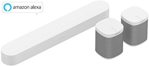 Sonos Beam WLAN-Speaker + 2x Play:1 WLAN-Speaker, weiß (Airplay-sound-bar)