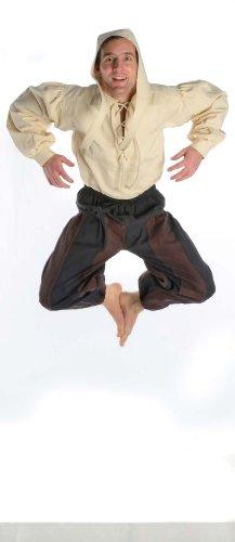 Hemad.De - Pantalon Médiéval Bicolore En Pur Coton - Pantalon De Pirate - Noir Et Marron - S-Xxxl noir-marron