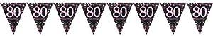 Amscan International-99017484m x 20cm rosa celebración de 80º plástico banderín banderines