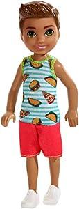 Mattel Barbie Chelsea-Muñeco Moreno con Camiseta de Comida, Juguetes +3 años FXG78