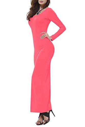 YMING Damen Herbst Langarm Kleid Cocktail Abendkleider Strandkleid Frühling Maxikleider Rosa