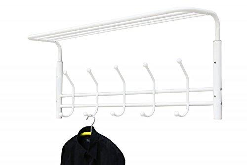 Wandgarderobe weiß lackiert Metall 5 Kleiderhaken Hutablage 110Bx25Tx35H