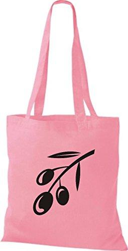 ShirtInStyle Stoffbeutel Baumwolltasche Dein Lieblings Obst und Gemüse Olive Farbe Pink rosa