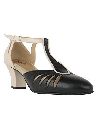 9210 Rumpf Damen Tanzschuhe Balboa Latein Salsa Rumba Tango Ballroom Schuhe Material Leder, Chromledersohle Absatz 5 cm, Made in Italy Schwarz/Beige