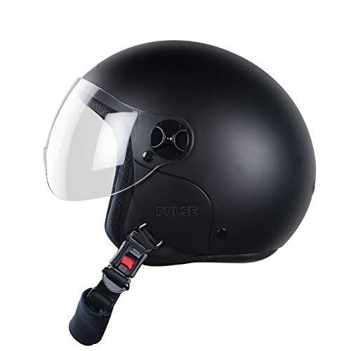 Steelbird Hi-Gn Pulse Open Face Helmet in Matt for Boys with Plain Visor (Black, Medium 580 mm)