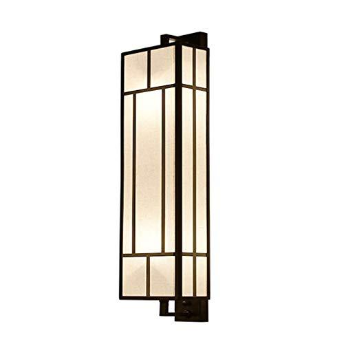 Wljbd lampada da parete retrò cinese, paralume in tessuto corpo lampada in ferro fondatore natura per soggiorno camera da letto comodino corridoio hotel progetto notte lampada da parete 2 luci e27