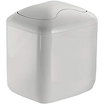 Mdesign Small Bathroom Bin With Swinging Hinged Lid High