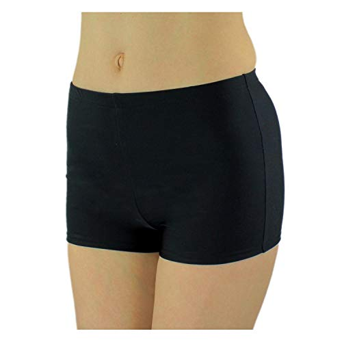 Aquarti Damen Badeshorts Hotpants Unifarben Gemustert, Farbe: Schwarz, Größe: 42