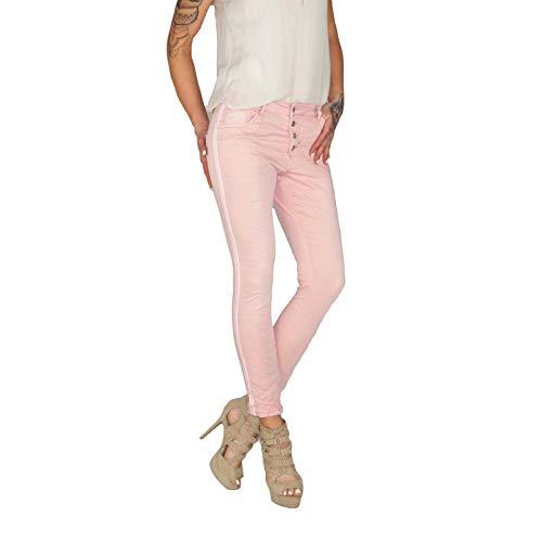 Dresscode-Berlin DB Damen Baggy Boyfriend Jeans mit Seitenstreifen in beige, Khaki und rosa (M / 38, Rosa)