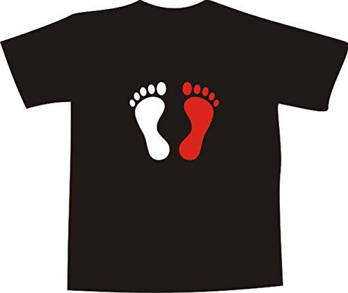 T-Shirt E111 Schönes T-Shirt mit farbigem Brustaufdruck - Logo / Comic - minimalistische Grafik / Fußabdruck rot und weiß Weiß