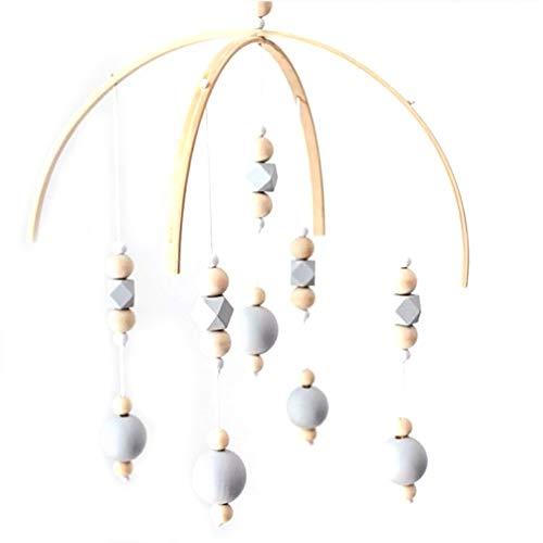 Artily Windspiel Holz Kinderzimmer Dekoration Hängende Mobile Bett Glocke für Kinder Neugeborene Baby Fotografie Requisiten Geschenk Mädchen Junge, grau, 32cm*52cm