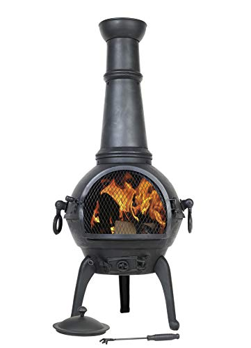 La Hacienda (free cover) Black Cast Iron Steel 125cm Chiminea Patio Heater Wood Burner