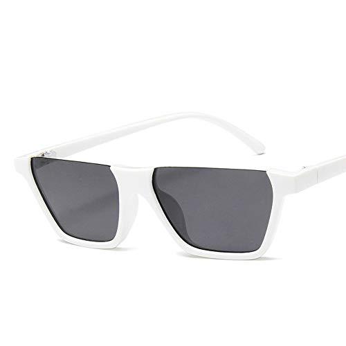 WDDYYBF Sonnenbrillen, Klassische Mode Retro Sonnenbrille Super Hälfte Frame Brille Cat Eye Semi-Rimless Frauen Sonnenbrille Brille Schutzbrille Uv 400 Weißen Rahmen Graue Linse
