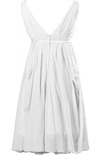 Sunvary A-line donna senza maniche corte con collo A V, in Chiffon vestito da damigella d'onore per feste White