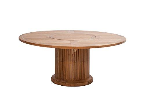 Premium Table en bois rond en bois de teck/Diamètre : 200 Cm/pour intérieur & extérieur/plateau tournant dans le milieu/table de jardin ? Table