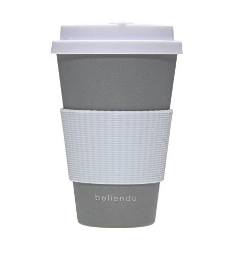 bellendo Kaffeebecher to go Bambus 400ml | Coffee to go Becher Bamboo für Kaffee & Tee | to go Becher mit Deckel, Griff & Auslaufschutz, grau -