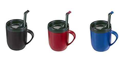 Pack of 2 Zyliss Smart Cafe One Cup Coffee Cafetiere Cup Hot Mug Blue & Graphite