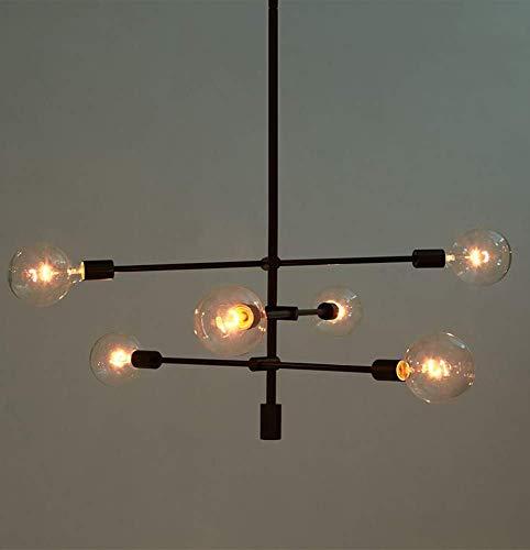 ☞ Moderne Kronleuchter Loft Sputnik Metal Pendant Lighting Fixture G80 Sockel Industriezweig Hängelampe Unterputz Deckenbaldachin mit 6 Lichtern Iron Art Finish Leuchte Unterputzmontage, Schwarz ☜ -