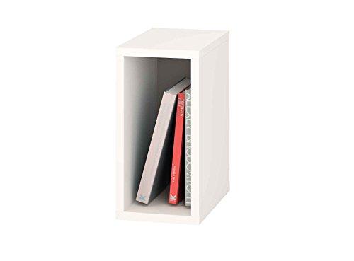 Samblo mizu Slim Cube stapelbar, Holz und Melamin, weiß und grau, 40x 20x 33cm