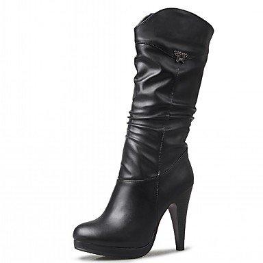 Rtry Zapatos De Mujer Pu De Cuero Sintético Otoño Invierno Comfort Novedad Botas De Moda Botas Stiletto Heel Round Toe Mid-calf Boots Para Fiesta Y Amplificador; Noche Us8.5 / Eu39 / Uk6.5 / Cn40