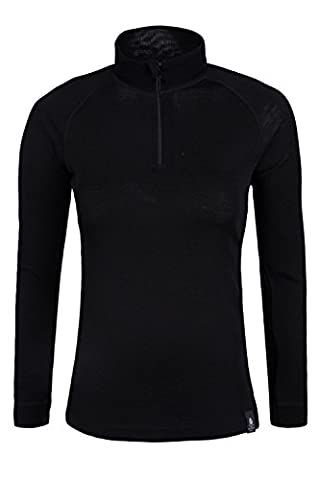 Mountain Warehouse Merino Womens Long Sleeved Zip Neck Base Layer Top baselayer Black 6