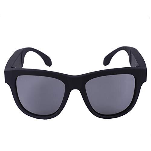KCaNaMgAl Knochenleitungsbrillen-Headset, drahtlose Bluetooth 4.0-Sportkopfhörer Polarisierte Sonnenbrille Stereo-Sound Smart-Touch-Sonnenbrille für Fahrten im Freien,Black