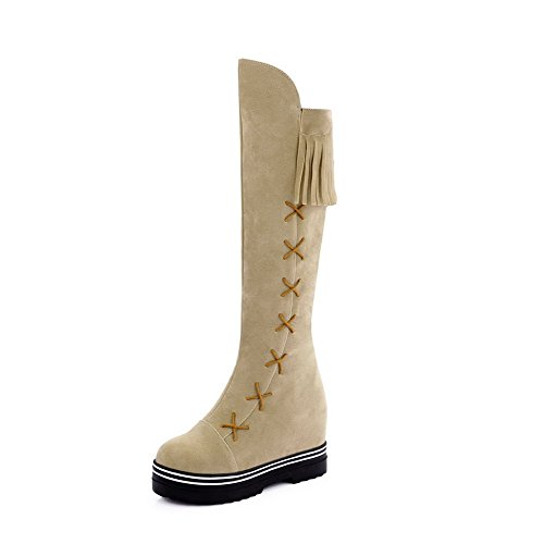 AgooLar Damen Rund Zehe Ziehen auf Hoch-Spitze Mittler Absatz Stiefel, Schwarz-Wasserdicht Plattform, 42
