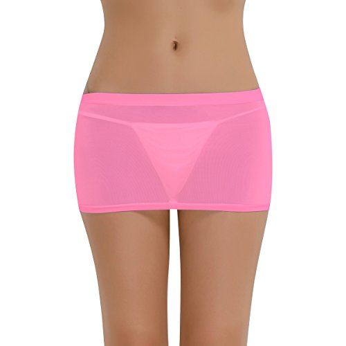 YiZYiF Damen Röcke Transparent Bodycon Bleistiftrock Mini Rock Clubwear Lingerie Reizwäsche Dunkel Rosa One Size