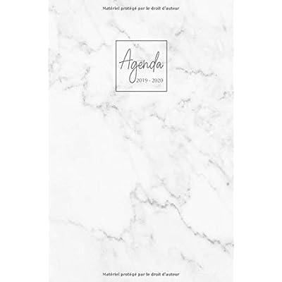 Agenda 2019-2020: Agenda Scolaire de Juillet 2019 à Juillet 2020, Semainier simple & graphique, série Marbre, motif marbre blanc