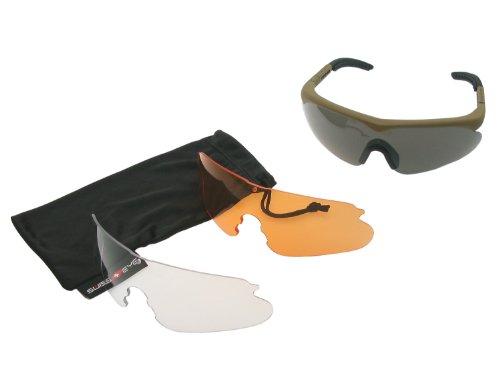 SWISS EYE Raptor Schutzbrille, Fassung -rubber brown-, 3 Gläser, mit Antifog/Antiscratch [10162]