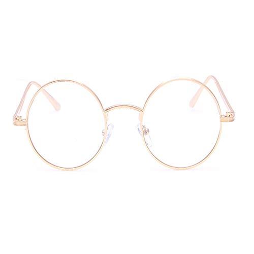 Ploekgda Klassische mentale Runde Eyewear Frame Brillengestell Nicht verschreibungspflichtige Brillen für Damen, Herren (Color : Gold)
