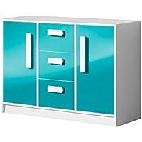 Preisvergleich für Kommode Sideboard GULIVER Kinderzimmer Jugendzimmer Möbel (weiß / türkis hochglanz)