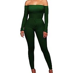 Longra Femmes Mode Off Épaule Manche Longue Sexy Combinaison Élégante Simple Tight-raccord Rompers Bodys Party Justaucorps Longs Pantalons Bandage Jumpsuit Casual Romper Jumpsuit(Vert,S(EU XS))