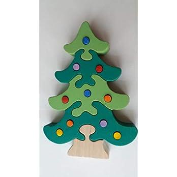Holz puzzle Weihnachts baum handgemachte Kiefer mit Ornament Dekoration Geschenk für Kinder massiv Buchenholz Spielzeug