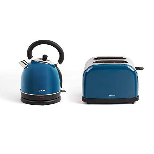 Hervidor de agua inalámbrico y tostadora azul, set de desayuno de acero inoxidable (apagado automático, elemento calefactor oculto, 1,8 litros, 2 rebanadas tostadoras)