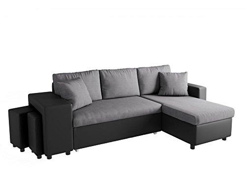 UsineStreet Canapé d'angle Oslo Convertible Gris/Noir avec Coffre et poufs - Angle - Gauche