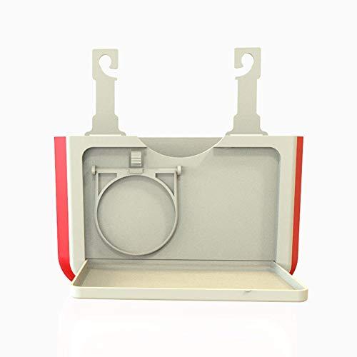 SHKY Auto-Papierkorb Mülleimer, Rücksitz Klammerhaken, Getränkehalter, Falten und einziehbares Regal Fach Fach,Beige -