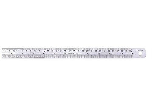 LINEX 100412284 Stahl-Lineal 15 cm lang und 1,5 cm breit mit cm und Zoll-Skala und Umrechnungstabelle auf der Rückseite (von Zoll auf mm)