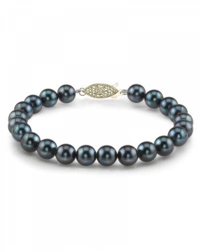 14 K oro, 8 0-8 5 millimeter. Akoya japonés negro pulsera de perlas cultivadas