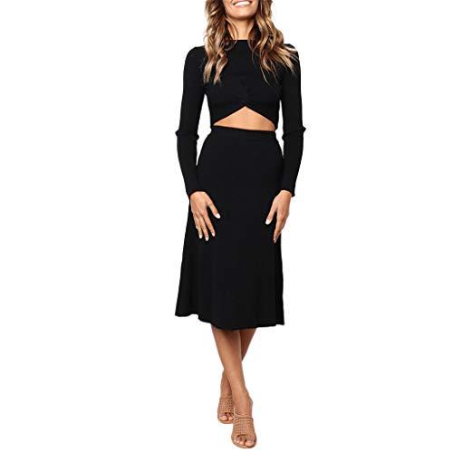 Frauen solide Farbe geknotet gerader Rock langärmlig schlanker Pullover zweiteiliges Anzug Mittlerer und Langer Abschnitt Kleid URIBAKY