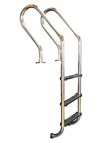 Acero inoxidable Piscina Escalera con curvado Holm Socket de 3niveles ancla