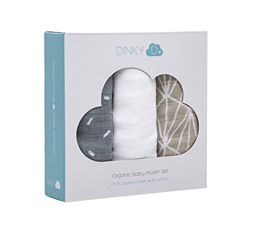 3 pañuelos cuadrados bebés muselina orgánica DINKY