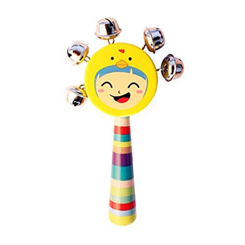 FloralLive Baby-Lächeln Gesichter Natürliche Holz Handglocken Rasseln Ausbildung Klingel Ring Spielzeug für Kinder/Kinder zufällige Farbe (Baby-rassel Natürliche)