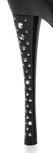 PleaserUSA Gogo-Platform High Heels Diamond-701 Lack Schwarz